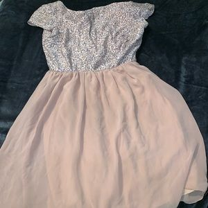 Cute grey and faded pink casual dress for anything